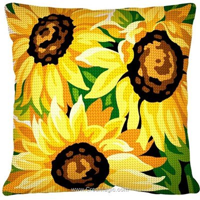 Coussin au demi point Margot les 3 tournesols