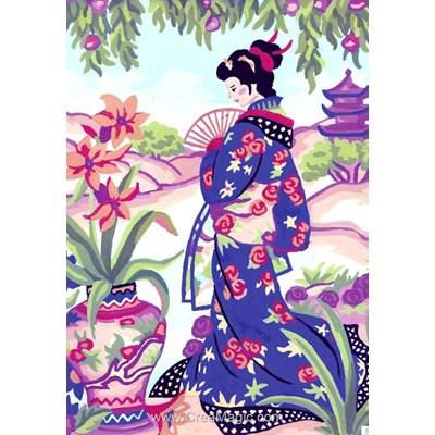Collection d'art canevas japonaise à l'évantail