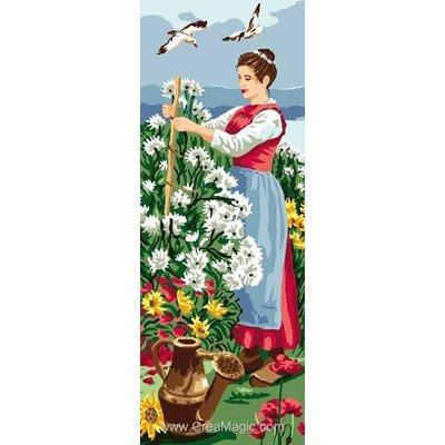 Femme aux fleurs canevas - Luc Création