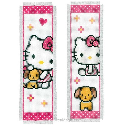 Marque pages Vervaco à broder hello kitty et son chien