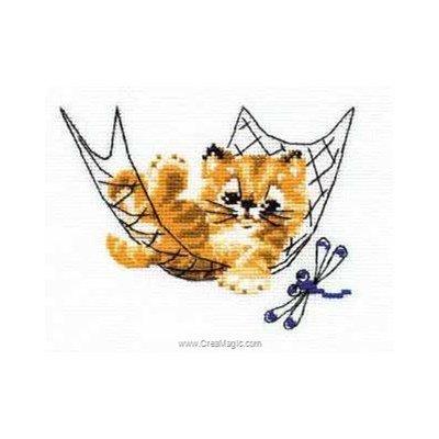 Le chaton dans le hamac tableau point de croix - RIOLIS