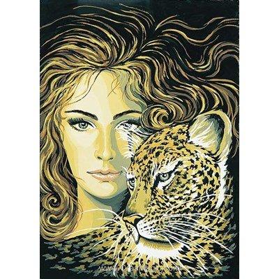 Collection d'art canevas femme et léopard