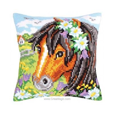 Coussin Collection d'art au point de croix jolie poney