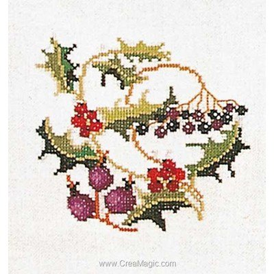 Kit broderie point compté Thea Gouverneur holly-berries sur lin