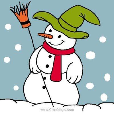 Kit canevas pour débutant bonhomme de neige et son balai - Luc Création