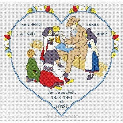 Kit tableau Anagram point de croix coeur hansi - toile lin