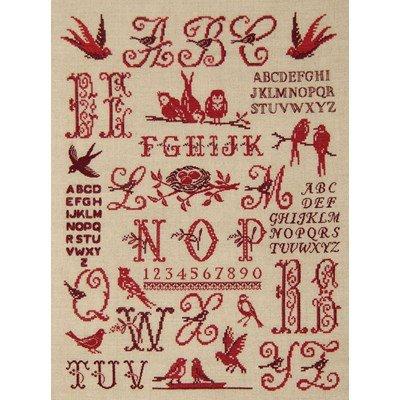 Abécédaire aux oiseaux rouge broderie point croix - DMC