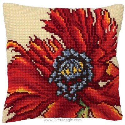 Coussin extravagante poppy au point de croix de Collection d'art