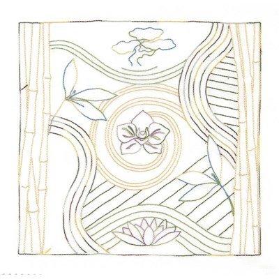 Broderie imprimée en kit stitch thérapie: jardin zen - senteur florale lotus de DMC