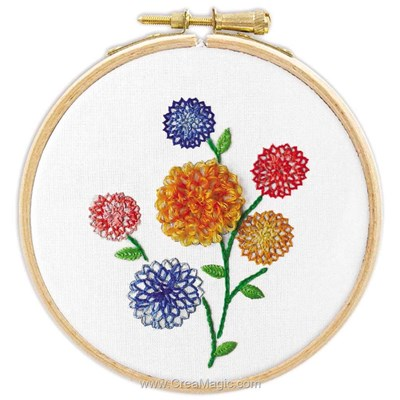 Broderie traditionnelle dahlias - Princesse