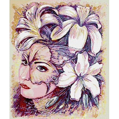 Kit broderie diamant woman in flowers - Diamond Painting