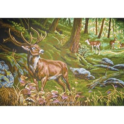 Le cerf au coeur de la forêt canevas - Collection d'art
