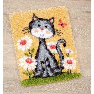 Kit tapis point noue Vervaco chat dans un champ de fleur