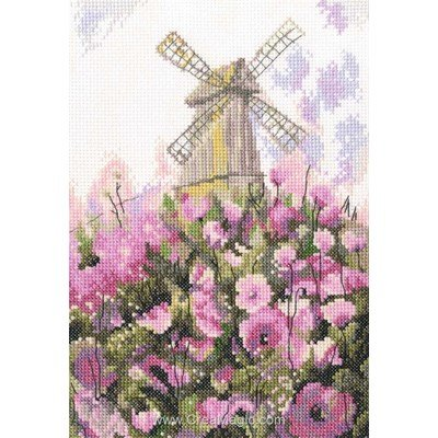 Broderie au point de croix point compté RTO le vieux moulin roses