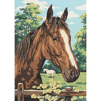 Luc Création canevas cheval à la barrière