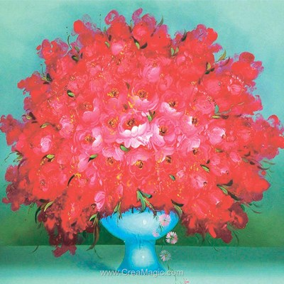 Kit broderie diamant Diamond Painting red flowers