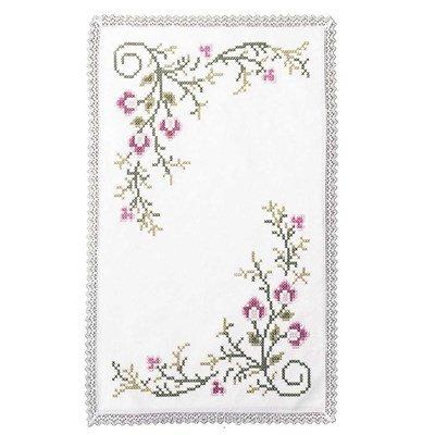 Napperon dentelle à broder au point de croix imprimé fleurs roses d'Avila