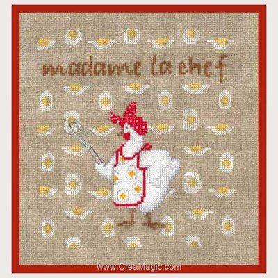 Tableau point de croix madame le chef - poule de Le Bonheur Des Dames