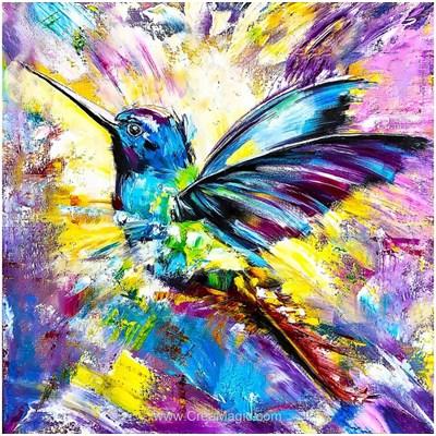 Broderie diamant l'oiseau aux mille couleurs - Wizardi