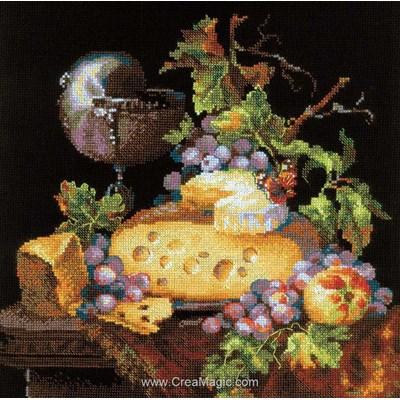 Modèle au point de croix fromage et raisins - RIOLIS