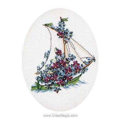 Modèle broderie au point de croix poetry yacht-flowers sur lin - Thea Gouverneur
