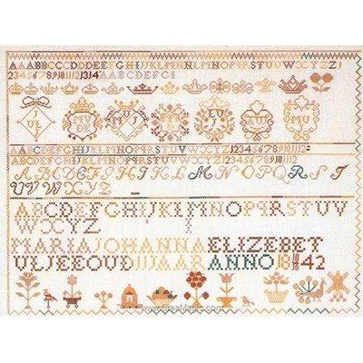 Tableau broderie point de croix sampler 1842 sur lin de Thea Gouverneur