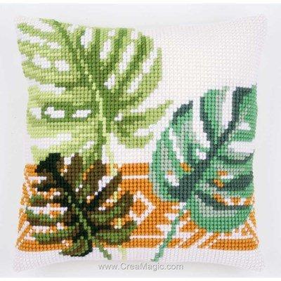 Kit coussin au point de croix Vervaco feuilles milla