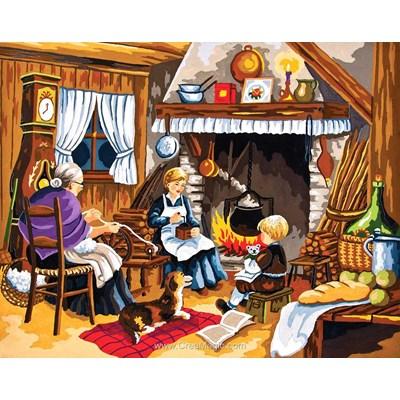 Canevas Collection d'art famille campagnarde au coin du feu