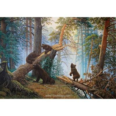Broderie diamant ours dans la pinède - Diamond Painting