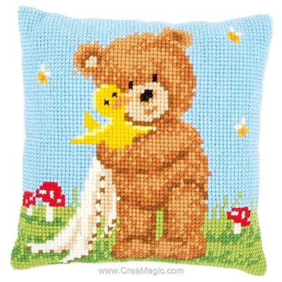 Kit coussin popcorn l'ours au point de croix de Vervaco