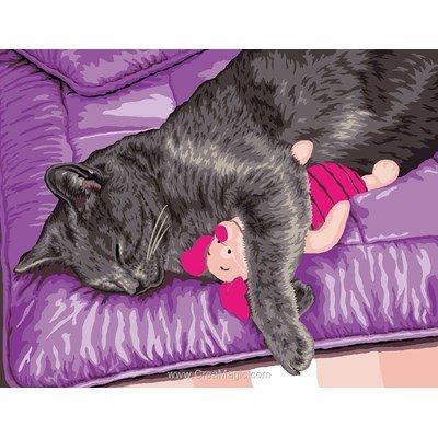 Canevas chat filho et son doudou - Mimo Verde