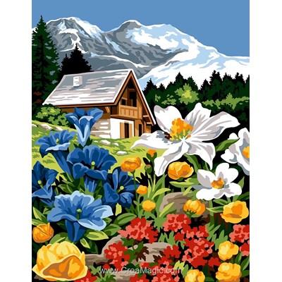 Fleurs de montagne au pied du chalet canevas chez Margot