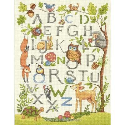 Kit tableau point de croix alphabet de la forêt - Dimensions