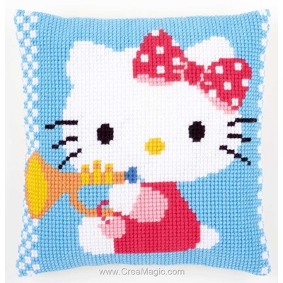 Kit coussin Vervaco au point de croix hello kitty et la trompette