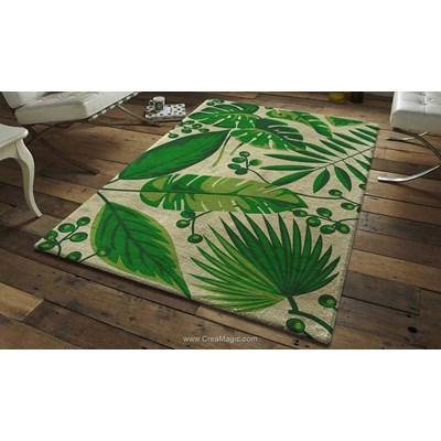 Tapis point noué feuilles tropicales de Smyrnalaine
