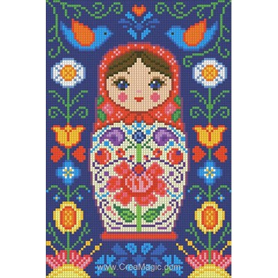 Kit broderie diamant poupée russe avec fleurs de Diamond Painting