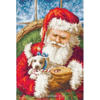 Le père noël et le petit chien tableau broderie point de croix - Luca-S