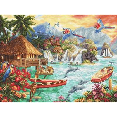 Kit LETISTITCH à broder au point de croix la vie paradisiaque de l'île
