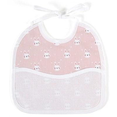 Bavoir bébé à broder lapin rose - 3 mois DMC