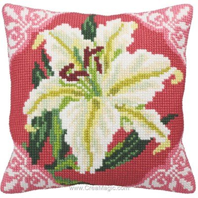 Kit coussin Collection d'art au point de croix lys blanc
