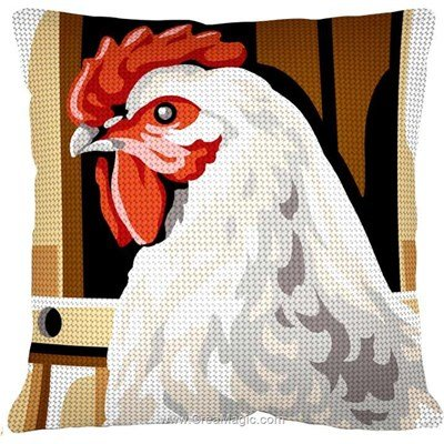 Kit coussin Margot poule blanche au demi point