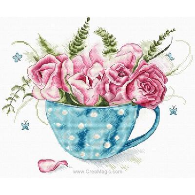 Broderie en point compté la tasse aux roses - LETISTITCH