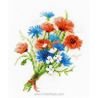 Broderie au point de croix compté RIOLIS bouquet aux bleuets