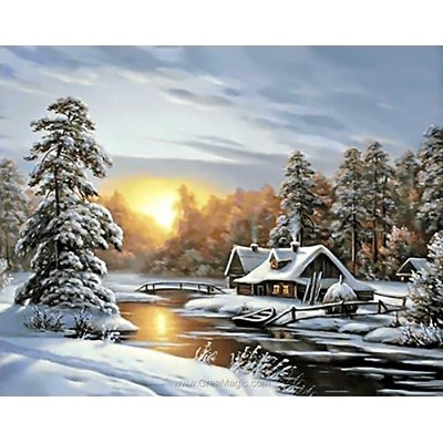 Kit broderie diamant winter sunrise de Wizardi