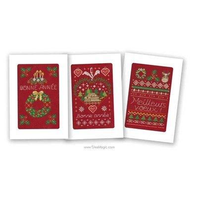 Kit carte à broder lot de 3 cartes bonne année - Marie Coeur