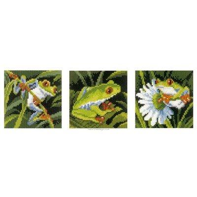 Broderie miniature Vervaco jolies grenouilles - lot de 3