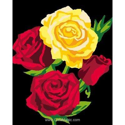 Roses jaune et rouge kit canevas pour débutant - Luc Création