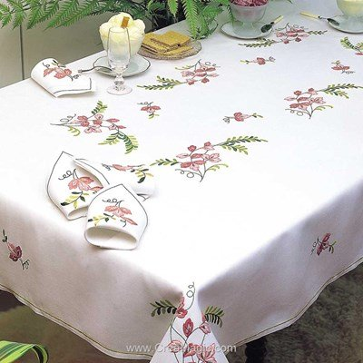 Serviette de table imprimée ramage en broderie traditionnelle - Margot Broderie