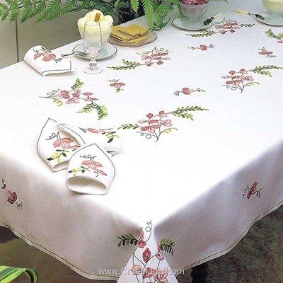 Serviette de table imprimée ramage en broderie traditionnelle - Margot Broderie