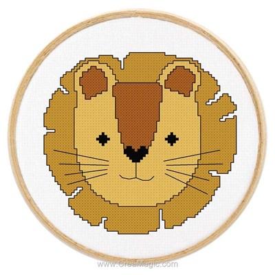 Tableautin petit lion modèle broderie point de croix - Princesse